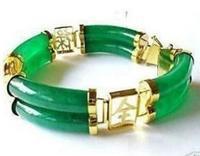 Free shipping Charm Genuine Green stone Bracelet 2 Row ^^@^ GP