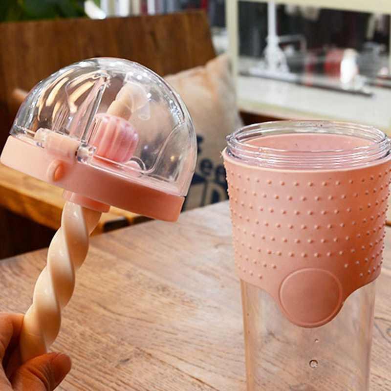 500ML de Plástico Garrafas de Água Liquidificador Shaker Proteína Garrafas Com Palha BPA FREE Kids Portátil Garrafas de Água Esporte
