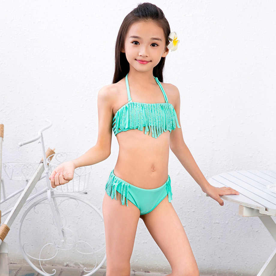 dc878ca1e ... Ms.Shang 7-16 Years Children Swimwear Girls Child Swimsuit Bikini Set Baby  Kids ...