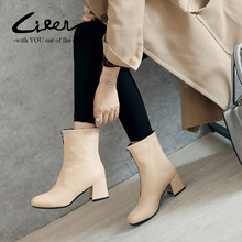 Liren Fashion Chunky Heels Ankle Boots For Women Front Zipper Winter Round Toe Shoes Black Red Beige Gray Big Size 34-46