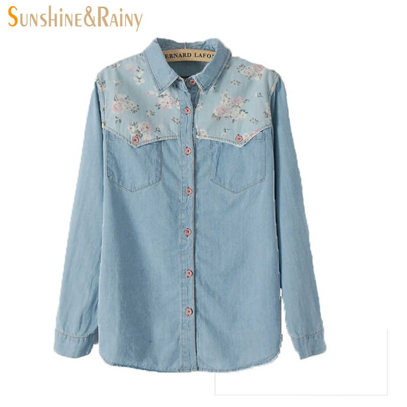 2017 spring summer fashion ladies sweet floral printed for Blue denim shirt for womens