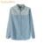 Senhoras 2017 Moda primavera verão Doce Floral impresso Emendados Azul Denim Camisas Das Mulheres Blusas de Manga Comprida Casual Fino Calça Jeans