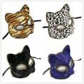 Тигр Печати Леопарда Маска Dance Party Ткань Кошка Синий Черный Мода Sexy