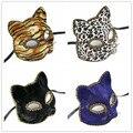 Máscara Do Partido de Dança Estampa de Leopardo tigre Gato Pano Azul Preto Moda Sexy