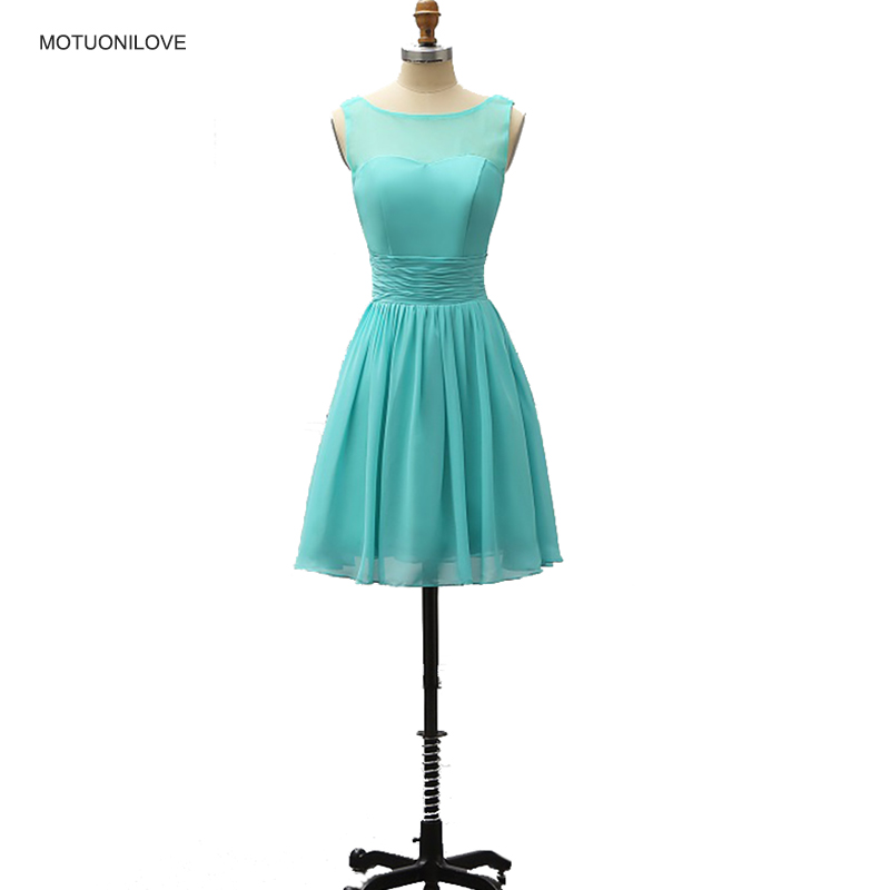 Turquoise Short   Bridesmaid     Dresses   Knee Length Scoop Neck Knee Length Wedding Guest   Dress   Simple Party   Dress   For Womens