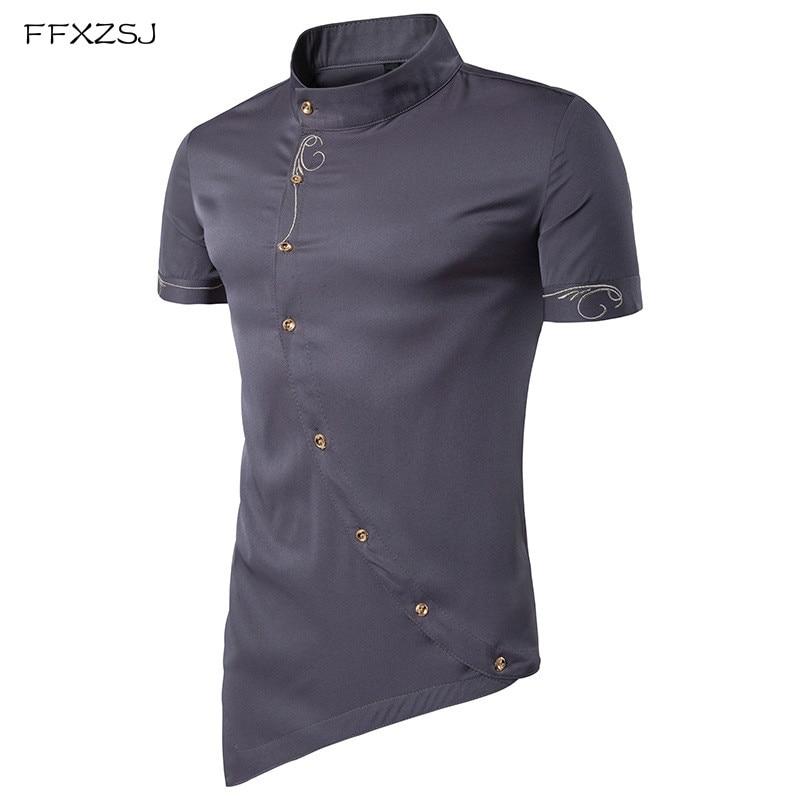 High Quality Men Shirt Short Sleeve 2018 Brand Tops Personality Oblique Button Dress Shirts Mandarin Collar Men Tuxedo Shirts
