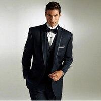 Классические черные мужские костюмы в деловом стиле на заказ свадебные костюмы для мужчин костюм смокинг жениха из трех предметов