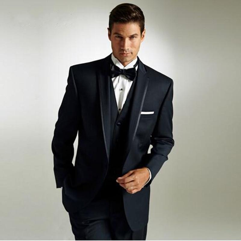 Классический черный Бизнес Для мужчин костюмы индивидуальный заказ Нарядные Костюмы для свадьбы для Для мужчин Жених Костюм смокинги 3 пре