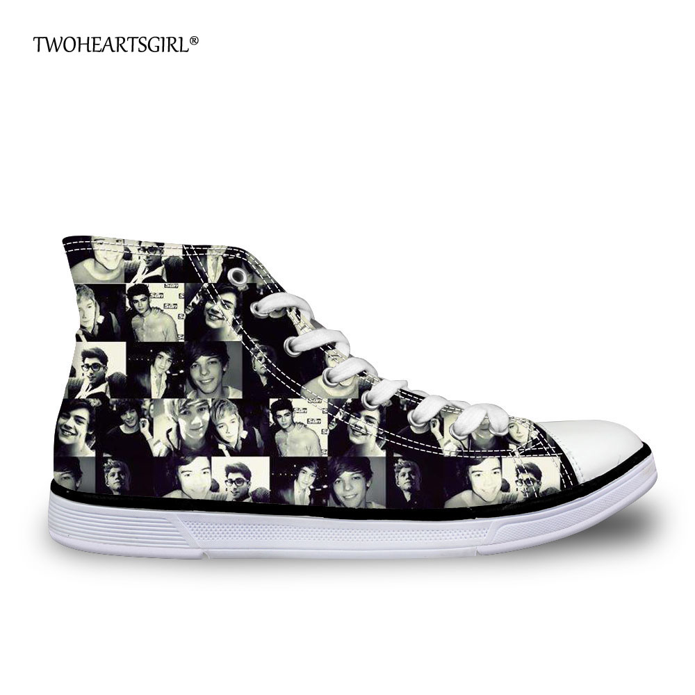 Twoheartsgirl High Top Canvas Shoes Cool One Direction Flat Walking Shoes for Young Women Casual Unique Women's Vulcanize Shoes