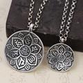 925 sterling silver Buddhist pendant Lotus mantra pendant thai silver OM MANI PADME HUM pendant