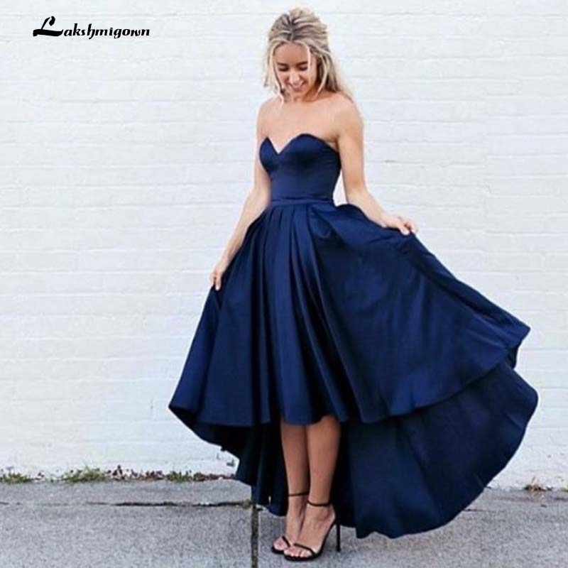 High Low   Bridesmaid     Dress   Short Front Long back Navy Blue Wedding Party   Dresses   Formal Gowns