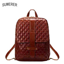 цена на SUWERER new Genuine Leather backpack women luxury backpack women bags designer bags women female backpack fashion embossed bag