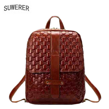 SUWERER new Genuine Leather backpack women luxury backpack women bags designer bags women female backpack fashion embossed bag new 2017 fashion personality 3d skull leather backpack rivets skull backpack with hood cap apparel bag cross bags hiphop man 737