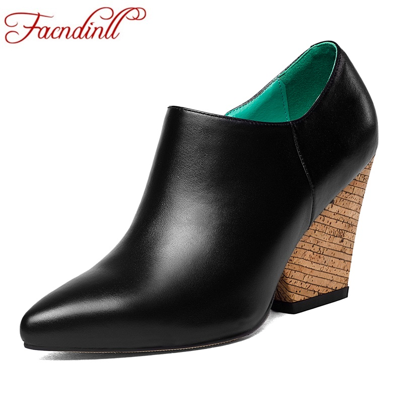 FACNDINLL genuine leather shoes women high heels pumps pointed toe handmade fashion wood grain heel lady office shoes ankle boot new genuine leather superstar solid thick heel zipper gladiator women pumps pointed toe office lady nude runway casual shoes l88