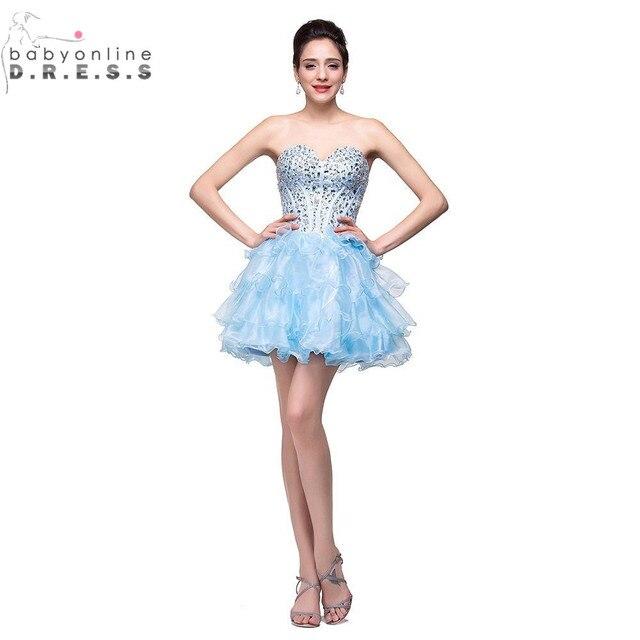 Imagen Real Sin Respaldo Azul Claro Vestidos de Coctel robe de Cocktail 2017 Cristales Moldeados de Lujo de encaje Corto Vestidos de Fiesta de Verano