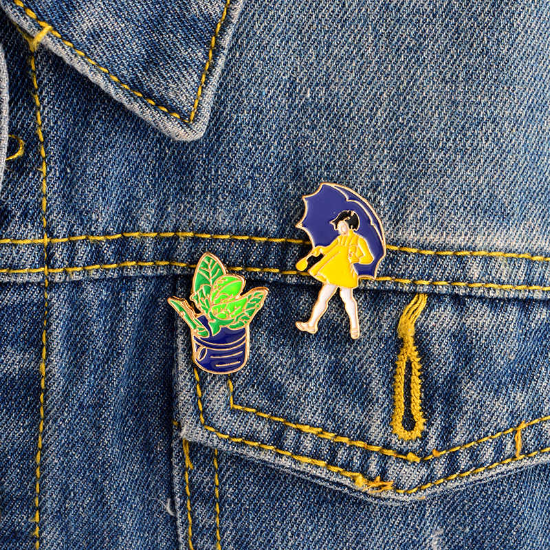 2 יח'\סט צהוב חצאית עם מטריית ילדה וצמח פין סט תגי דש פין מעילי תרמיל אביזרי תכשיטים