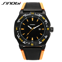 SINOBI Mens Casual Sports Wrist Watches Leather Watchband Luxury Brand Wristwatch Male Quartz Clock Montres Pour Hommes 2017 G32