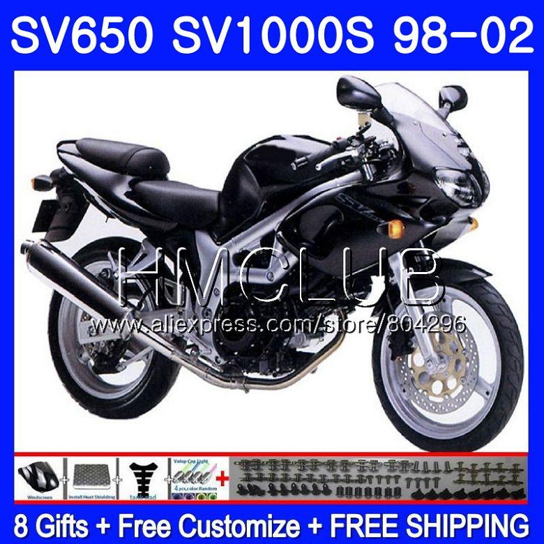 Обтекатель для SUZUKI SV650S SV400S SV1000S 98 99 00 01 02 29HM. 3 SV 650 S 400 S 1000 S SV400 S глянцевый черный 1998 1999 2000 2001 2002