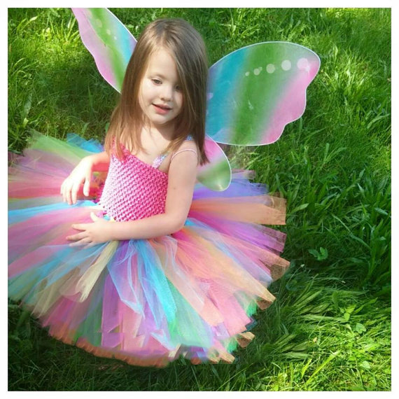 Rainbow Girls Crochet Tutu Dress Baby Handmade 2Layer Fluffy Tulle Ballet Tutus With Butterfly Wing Set Kids Party Costume Dres