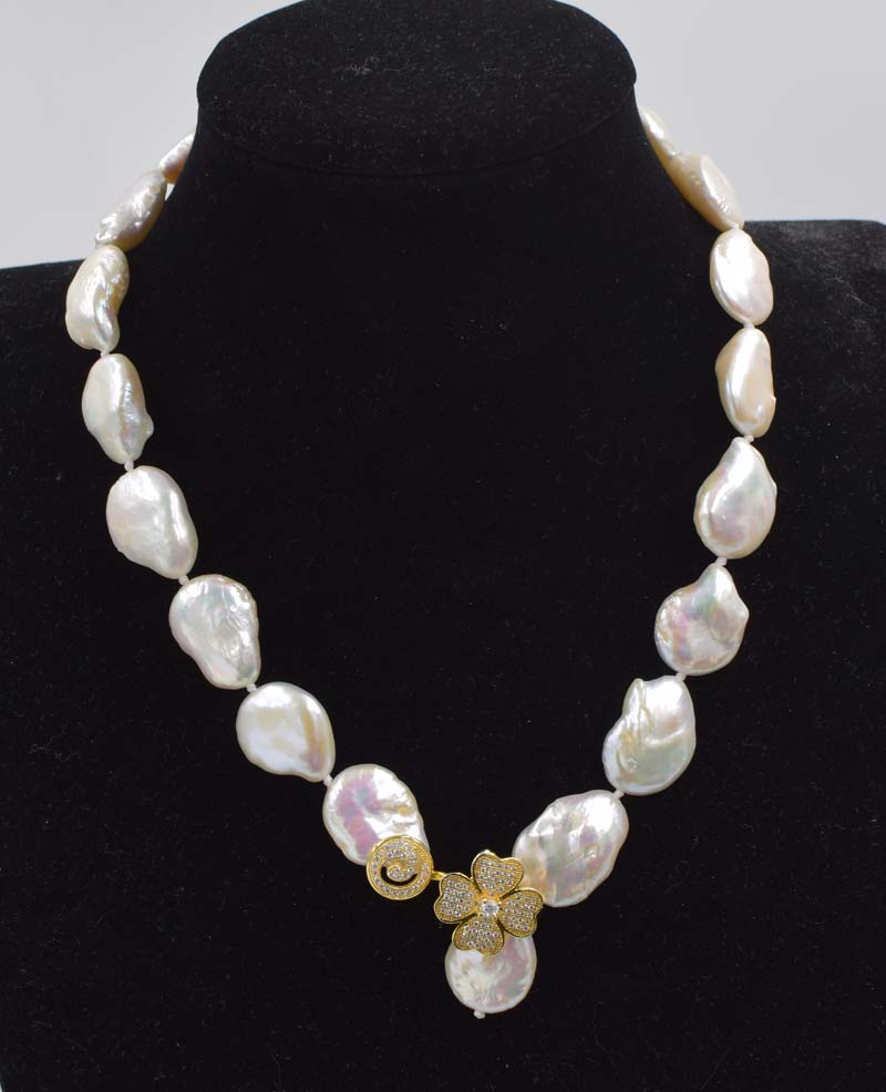 freshwater pearl white flat reborn keshi 18-22mm baroque necklace 18inch FPPJ wholesale beads nature цена и фото