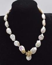 édesvízi gyöngy fehér lapos újjászületett keshi 12-15mm barokk nyaklánc 18inch FPPJ nagykereskedelmi gyöngyök természet