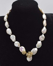 freshwater pearl white flat reborn keshi 12-15mm  baroque necklace 18inch FPPJ wholesale beads nature freshwater pearl white near round and red jade leopard clasp necklace 18inch fppj wholesale beads nature
