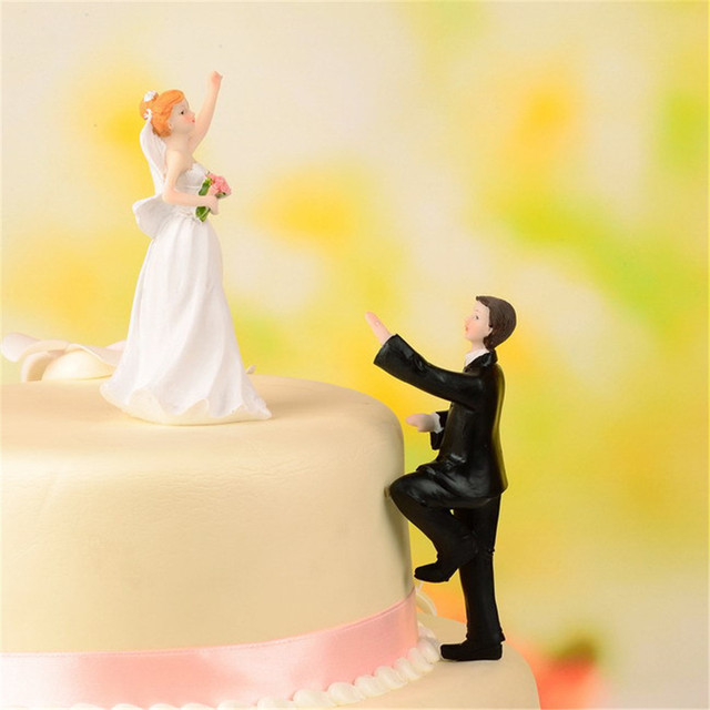 white + black resin bride and groom cake decoration ornaments doll ...