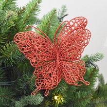 Christmas Butterfly Tree Decoration Flash Hollow Flower Artificial Flowers New Year Ornament