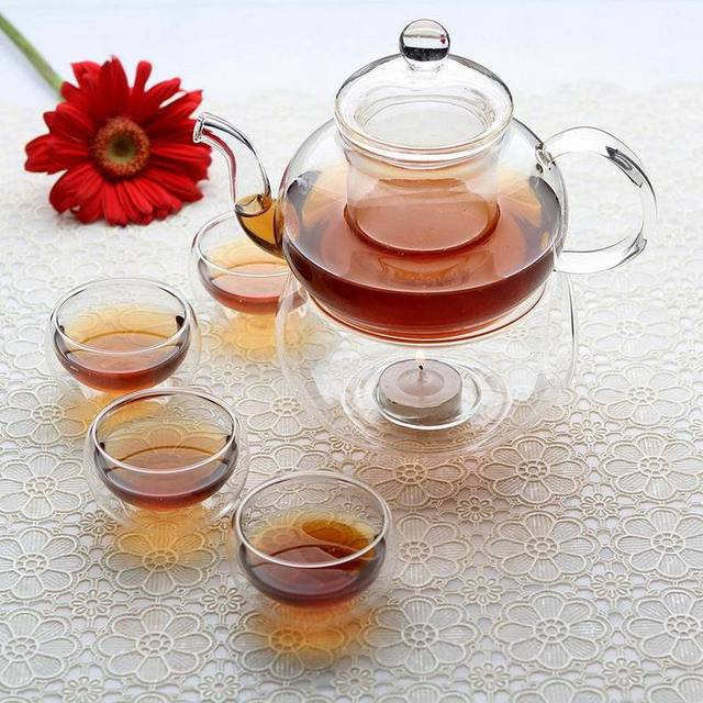 Chinese Gongfu Tea set Glass Teapot 600ml +Filter +Candle Warmer + 4 x double wall tea cups 50ml Heart Resistant Home Party