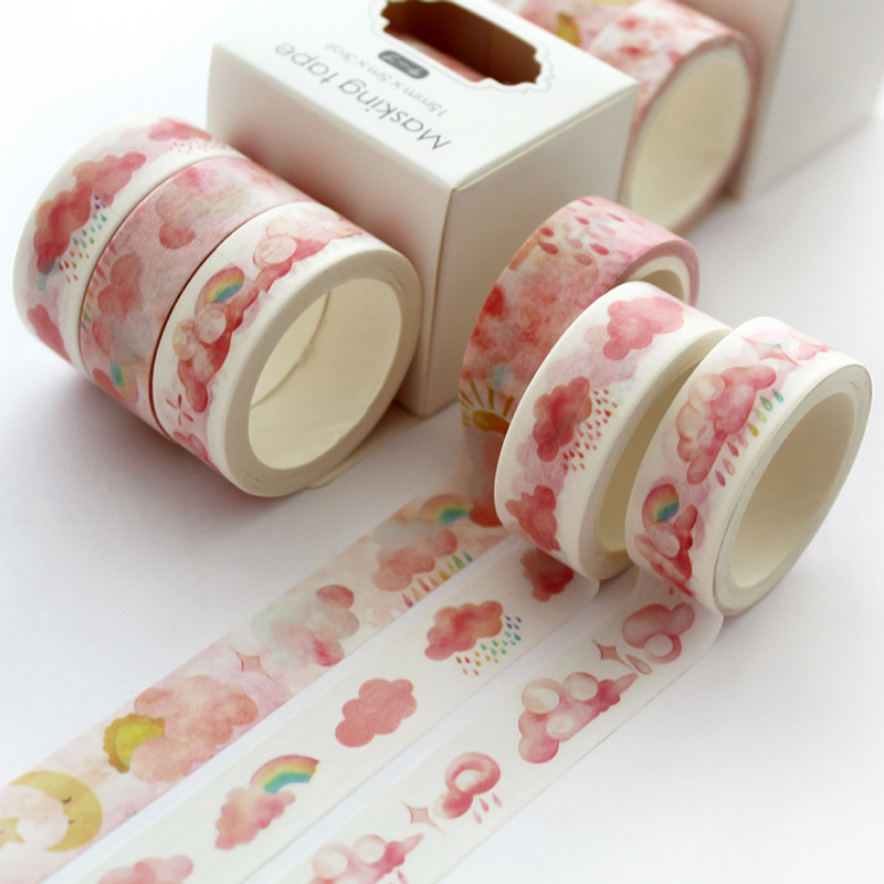 3 Pcs/pack Weather Cloud Rainbow Kawaii Planner Handbook Decorative Paper Washi Masking Tape Set School Supplies Stationery
