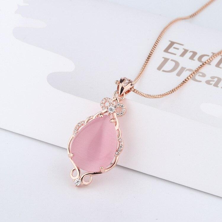 14 K oro rosa collares de piedra Natural rosa de cristal de Jade cuarzo ross colgante oro rosa Cadena de clavícula de la joyería para las mujeres bizuteria