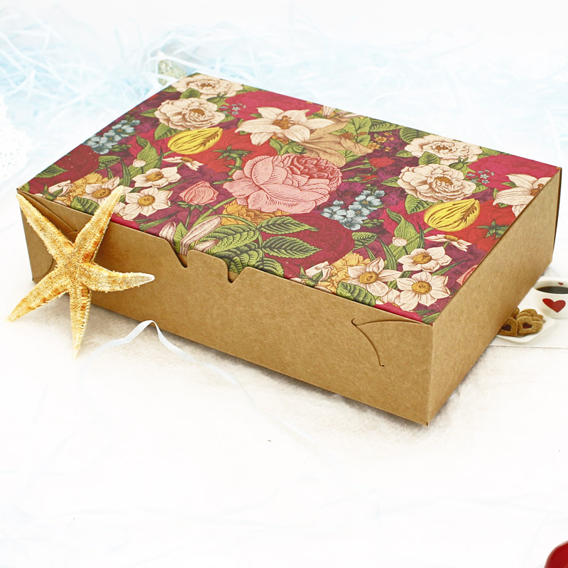 20/40PCS Vintage Floral Kraft Paper Boxes Gift Boxes Packaging Macaron Boxes Packaging For Cookie Candy Carton Box