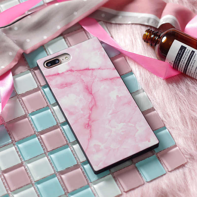 AKI Marble Phone Case for iPhone X Case Luxury Rectangle Square Glossy Soft Silicone Conque for Cover iPhone X 7 8 6 6s Plus