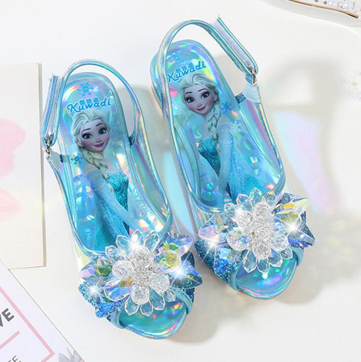2019 New Elsa Shoe Girls Cute Flats Leather Bow Children Princess Fashion Dress Shoes Kids Ice Snow Queen Casual Sneakers