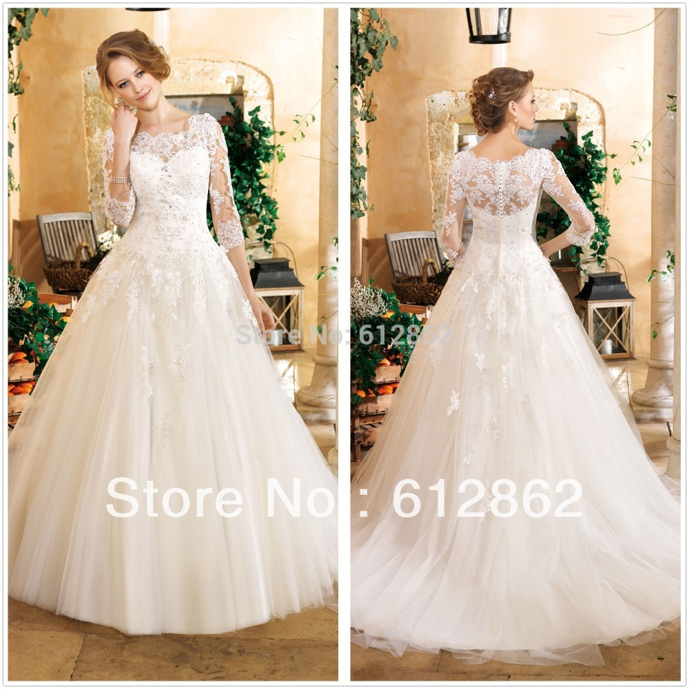 new arrival ball gown long train tulle beaded lace 3 4 sleeve wedding dress