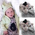 2016 Moda Bebê Recém-nascido Crianças Meninos Roupas Urso Xadrez Macacão Romper Bonito Roupas Quentes Para Os Meninos Do Bebê