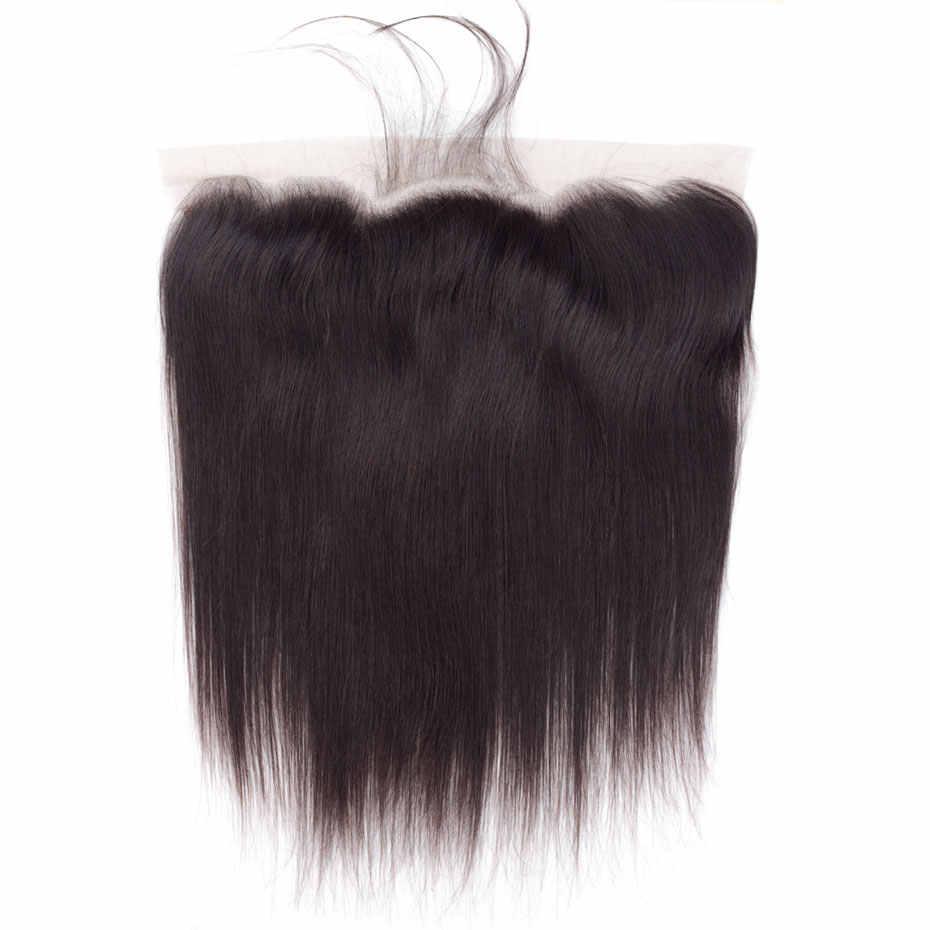 Бразильские прямые волосы 13*4 Кружева Фронтальная застежка с детскими волосами 100% человеческих волос свободная часть кружева закрытие remy наращивание волос