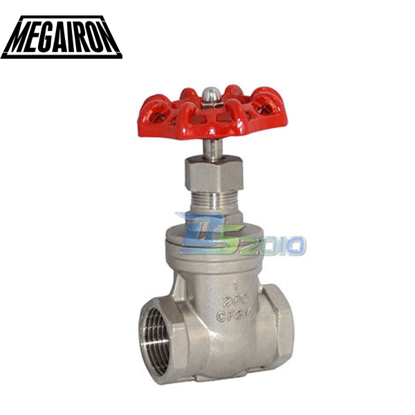 MEGAIRON 1 DN25 Stainless Steel SS316 Thread Female Gate Valve CF8M Heavy Duty Max 200Psi 1 2 globe valve stainless steel ss 316 cf8m heavy duty new page 3 page 1