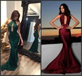 Sexy 2017 Prom Dresses Halter Backless Mermaid Special Occasion Dresses Women Long Evening Party Dresses Green/Burgundy