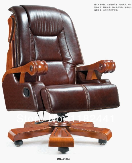 CEO Office Chair with top genuine leather and solid wood material Antique wooden leather boss & CEO Office Chair with top genuine leather and solid wood material ...