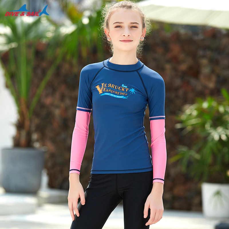 Anak Perempuan Lengan Panjang K Berlaku Atasan UPF 50 + Baju Renang Ruam Penjaga Atletik Berenang Surf Setelan Anak Laki-laki Muda Dasar lapisan Baju Kemeja