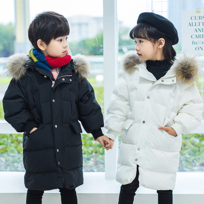 Boys Girls Winter Down Coat Hooded Fur Collar Long Sleeve Warm Thick Kids Clothes Children Jackets 2018 Fashion Cute Outerwear fashion long parka kids long parkas for girls fur hooded coat winter warm down jacket children outerwear infants thick overcoat