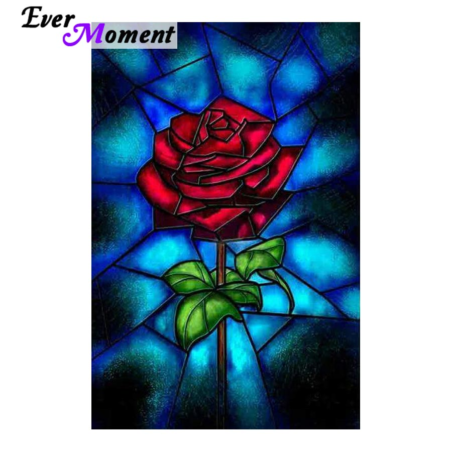 Ever Moment Red Rose Diamond Mosaic Wall Painting DIY 5D Diamond Painting Red Rose Embroidery Rhinestones Flower Art ASF827