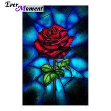 Ever Moment czerwona róża diament mozaika malowanie ścian DIY 5D diament malarstwo czerwony haft z różami dżetów kwiat sztuka ASF827