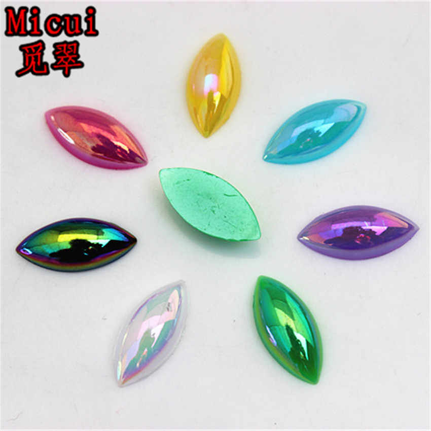 Micui 100PCS 7 15mm AB Color Horse eye shaped Acrylic Rhinestones Flatback  For Clothes Dress 9ba38064bd50