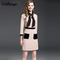 Willstage Women Dress Beading Long Sleeve Bow Lace Up A Line Dresses Pockets High Quality OL