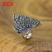 925 Sterling Silver Marcasite butterfly ring casual lady happy couple