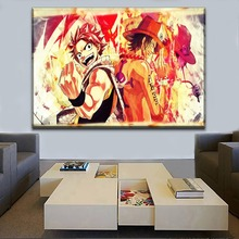 HD Picture On Canvas Printing And On The Wall Decorative 1 Piece Anime Fairy Tail Natsu Dragneel One Piece Portgas Large Poster good smile anime pvc 1 7 fairy tail natsu dragnir action figure natsu dragneel model toy decoration collections men gift 23cm