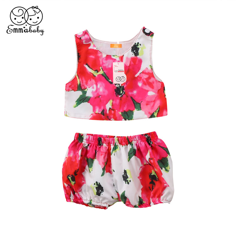 Sweet Baby Girl Clothes Set 2018 Summer Newborn Baby Girl Sleeveless T-shirt Tops+Short Pants Princess Kid Girls Flower Clothing