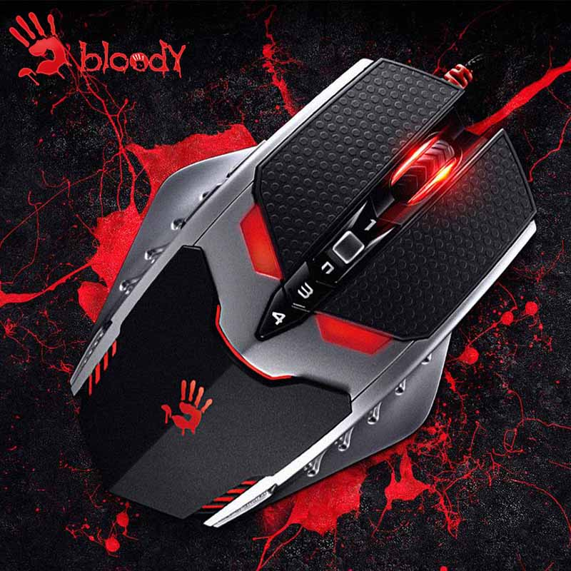 A4tech Bloody TL80 8200 DPI professional gaming mouse LOL Dota CF mouse gaming USB Wired computer game mouse Cool LED cool bloody knife tricky toys black grey